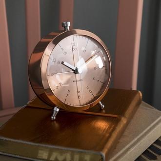KARLSSON - Réveil button cuivre silencieux 5x9cm