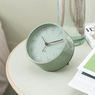 KARLSSON - Réveil élegant vert kaki métal silencieux 5x11cm