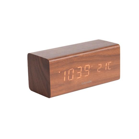 Réveil bloc bois foncé LED blanc silencieux 16x7,2x7,1cm
