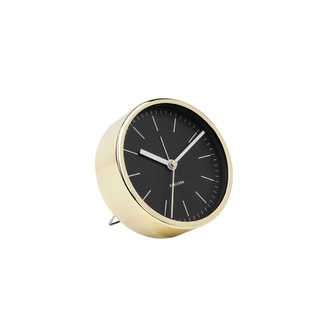 KARLSSON - Réveil minimal noir et or brillant silencieux 10cm