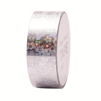 RICO- Masking tape holographique argent fleurs