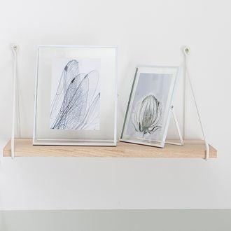 Cadre photo 10x15 à poser entre 2 verres métal blanc mat