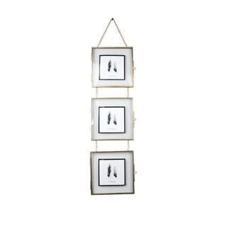 Cadre 3 vues 14x14 entre 2 verres métal doré h55cm