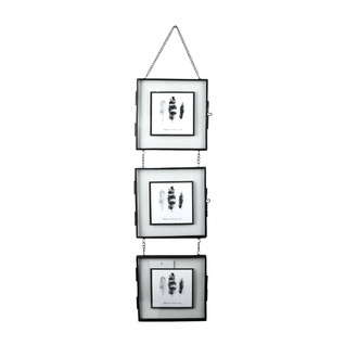Cadre 3 vues 14x14 entre 2 verres métal noir h55cm