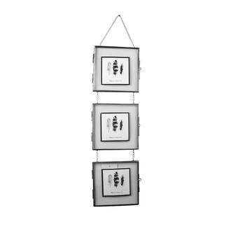 Cadre entre 2 verres 3 vues 14x14 métal vieilli h55cm