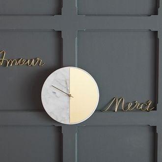 Horloge marbre blanc et laiton silencieuse 30cm