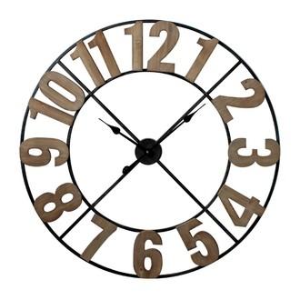 Horloge indus. métal chiffres bois 60cm