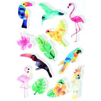 Stickers 3D oiseaux tropical