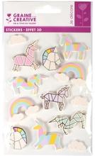 Achat en ligne 12 Stickers 3D licorne