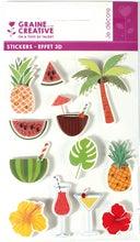 Achat en ligne 11 Stickers 3D tropical