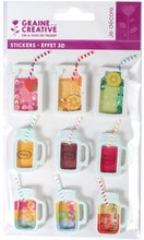 Achat en ligne 8 Stickers 3D boisson