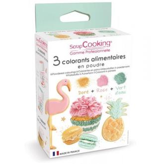 SCRAPCOOKING - Trio colorants rose vert doré