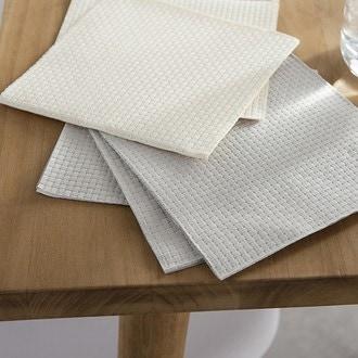 15 serviettes 33x33 cm linen gaufré gris clair