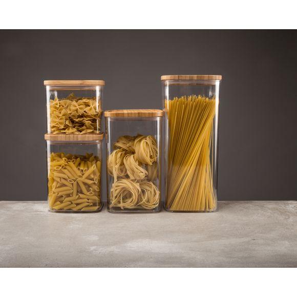 Barattolo in plastica, con coperchio in bambù 1L