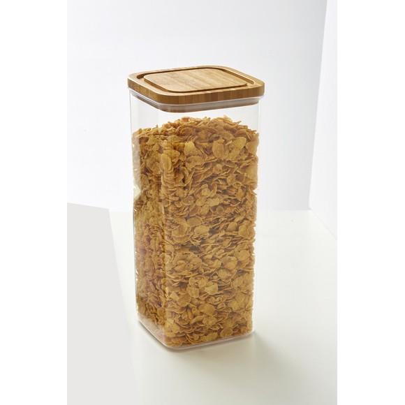 Barattolo in plastica, con coperchio in bambù 3,1L