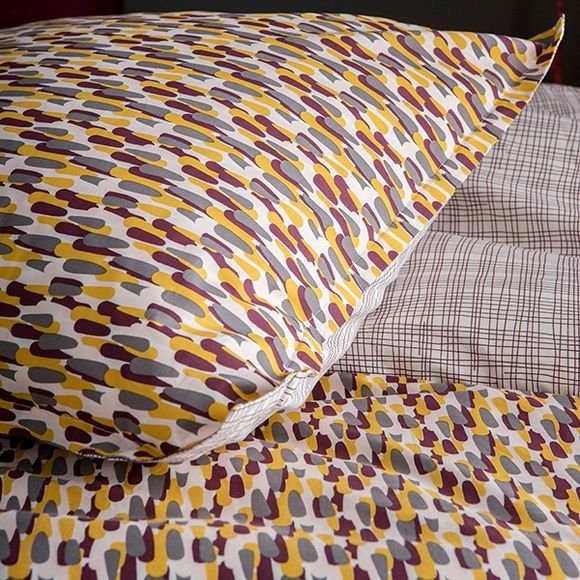 Taie d'oreiller carrée percale terre rouge Carillon 65x65cm