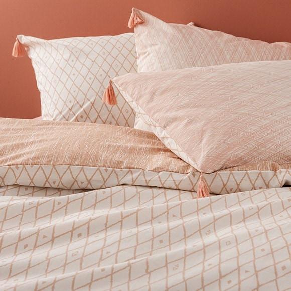 Federa quadrata in cotone percalle a fantasia rosa 65x65