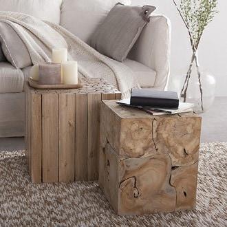 Table cube bois eucalyptus 40x40x40cm