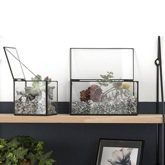 Boîte terrarium métal antique 10,3x10,3xh10,3cm