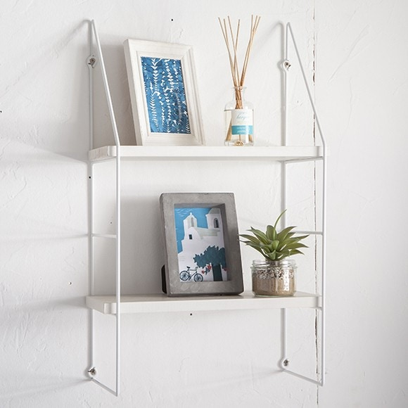 acquista online Scaffale a scala quadrata, 4 piani in metallo bianco 67x21cm