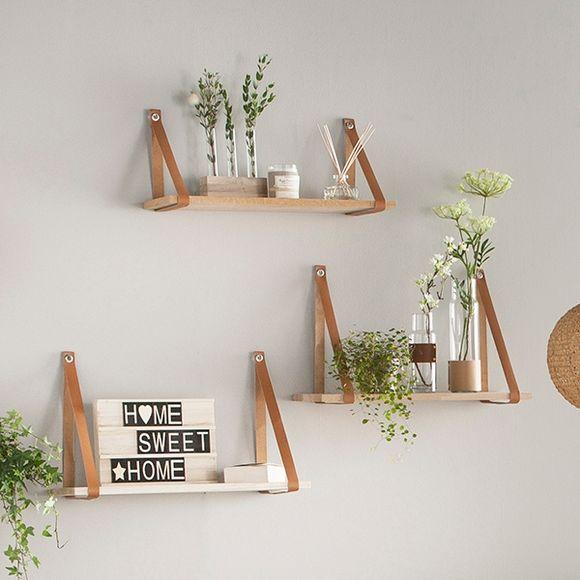 etag re tablette ch ne 50x19cm sangles cuir 0 90cm pas. Black Bedroom Furniture Sets. Home Design Ideas