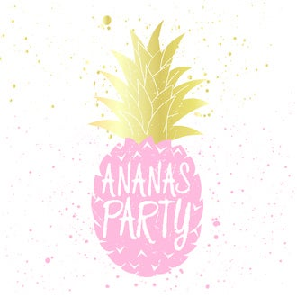 20 Serviettes ananas party rose et or 33x33 cm