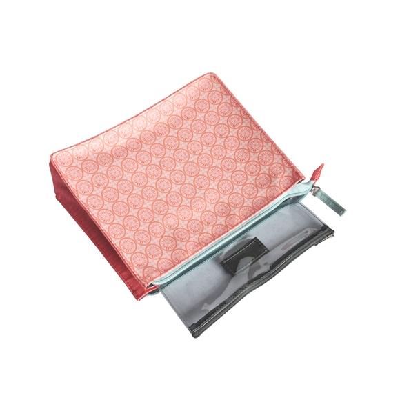 Achat en ligne Trousse de toilette en coton enduit corail 25x9x19cm