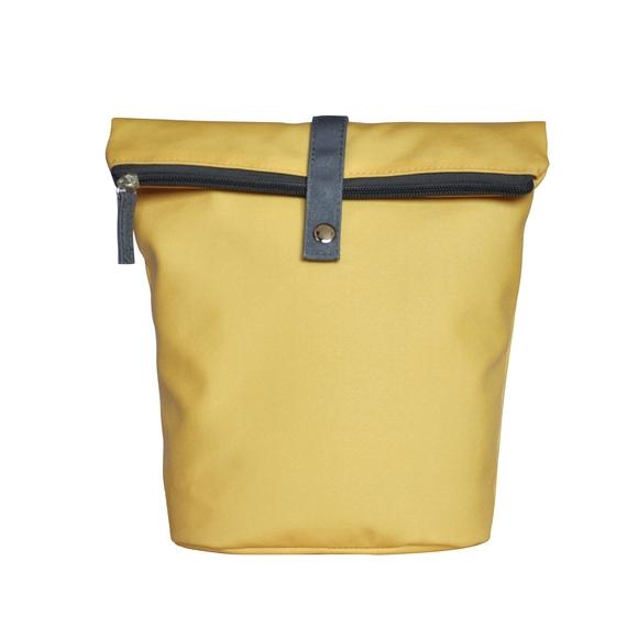 Trousse de toilette en coton enduit jaune 18x10x25cm