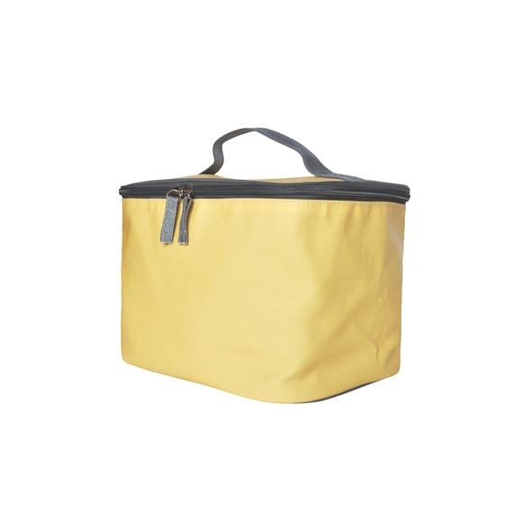 Trousse de toilette en coton enduit jaune 24x18x18cm