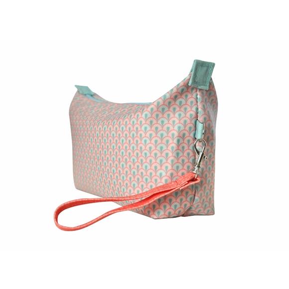 Achat en ligne Trousse de toilette en coton enduit corail 22x7x14cm