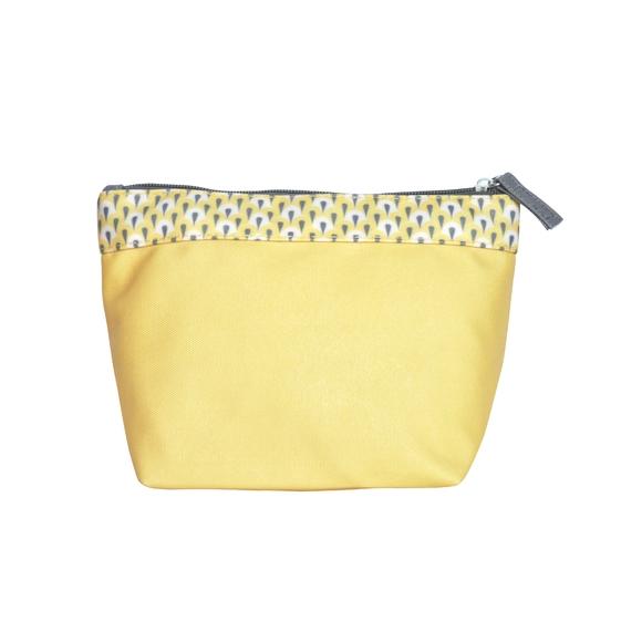 Trousse de toilette en coton enduit jaune 22x14x12cm