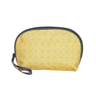 ZODIO - Trousse de toilette en coton enduit jaune carreaux fleuris - L'efficace - 22x8x16cm