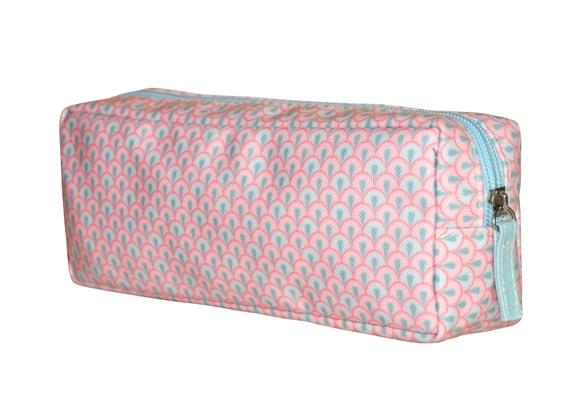 Achat en ligne Trousse de toilette en coton enduit corail 22x5x8cm