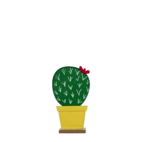 Cactus vert sur socle en bois l14xh25cm