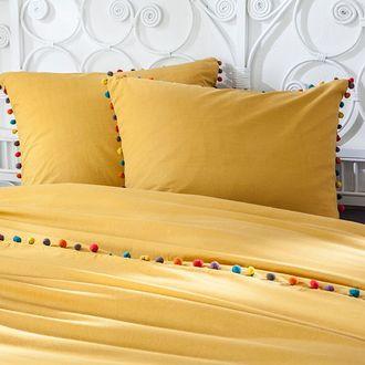 Maom - taie d'oreiller carrée en coton curry, finition pompons guatemala 65x65cm