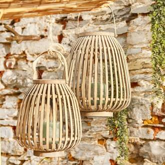 Lanterne bambou naturel h 35 d29