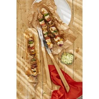 Fourchette barbecue manche en chêne pefc