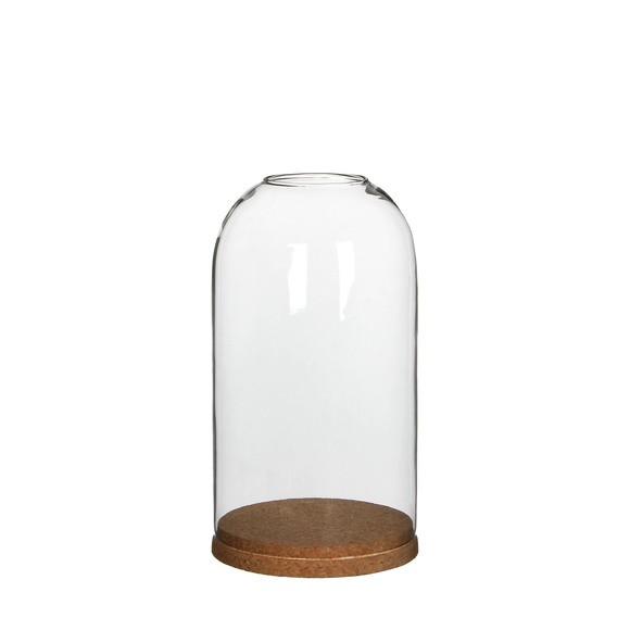 Cloche ouverte avec socle liège d13xh23cm