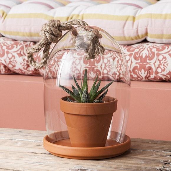 cloche avec socle et pot terre cuite gyda d14xh24cm pas. Black Bedroom Furniture Sets. Home Design Ideas