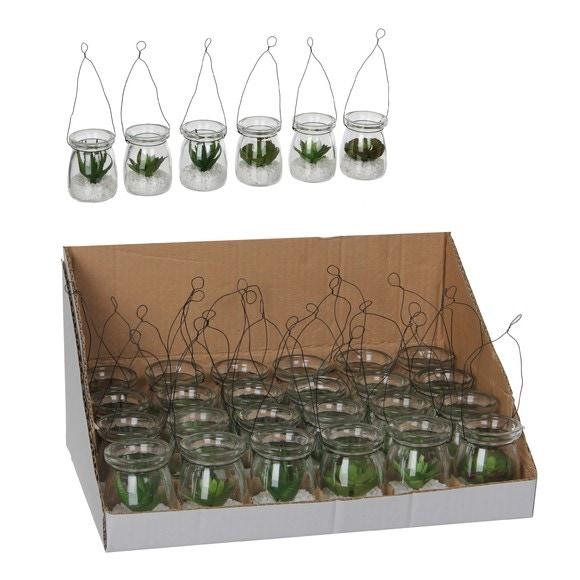 Achat en ligne Succulente artificielle en pot à suspendre d5xh16cm