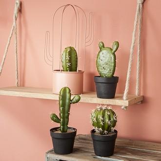 Cactus artificiel en pot plastique d9xh21cm