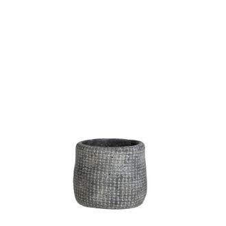 Cache pot gris kyan d10.5xh9cm