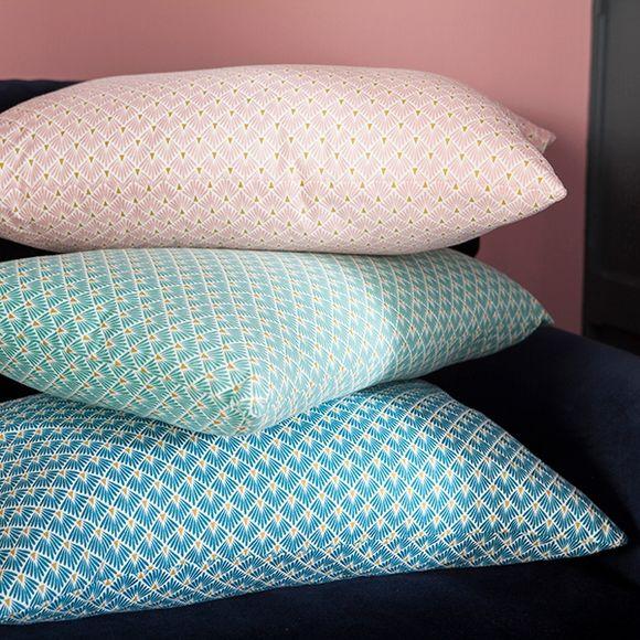 Cuscino rettangolare in cotone blu decori oro 40x60cm