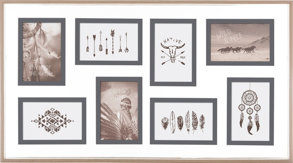 Achat en ligne Cadre photo 8 vues 10x15 faux entre 2 verres bois