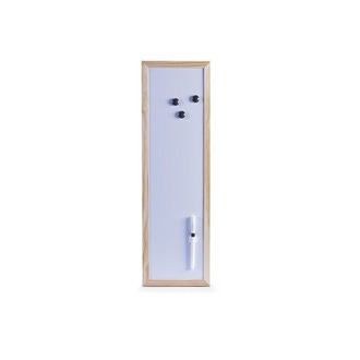 Tableau mémo magnétique blanc moulure bois 20X60cm avec feutre et aimants