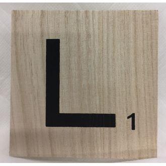 Lettre L scrabble en bois 10x10x0,6cm