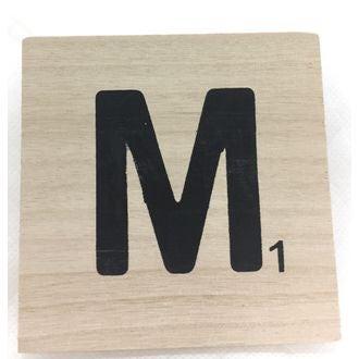 Lettre M scrabble en bois 10x10x0,6cm