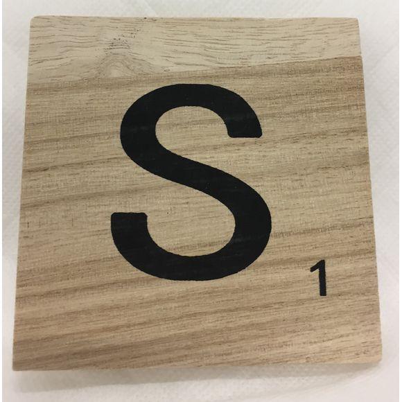 Lettre S scrabble en bois 10x10x0,6cm