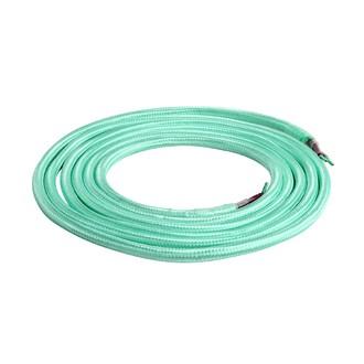 Câble textile double isolation vert d'eau 2m