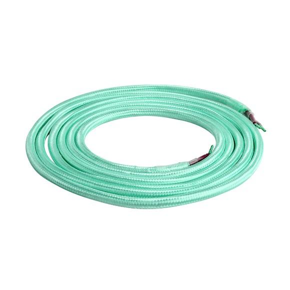 Achat en ligne Câble textile double isolation vert d'eau 2m